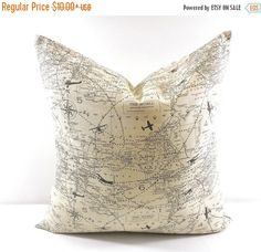 PILLOW. Map Pillow cover.  Map sham cover. by TwistedBobbinDesigns