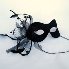 Black Feathered Fascinator and Tulle Black Masquerade Ball Mask