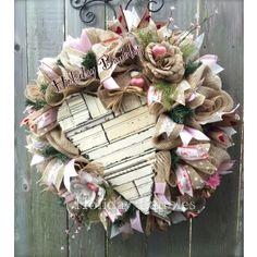 Rustic Valentines  Heart Wreath