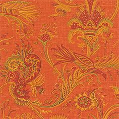 Hunterdon Wallpaper & printed cotton fabric in Orange from the Fairfax Collection by Textures Patterns, Print Patterns, Design Palette, Yellow And Brown, Happy Colors, Color Of The Year, Pantone Color, Textile Design, Printed Cotton