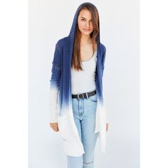 LAmade Piper Dip-Dye Cardigan ($98) ❤ liked on Polyvore featuring tops, cardigans, lamade, dip dye cardigan, blue cardigan, blue top and longline cardigan