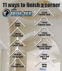 """Did you know that Trim-Tex trims can help you to finish a corner in up to 11 different ways? From straight, square corners to round bullnose and modern Chamfer. Now introducing our new """"decorative"""" corner beads - Step a Bull and Niche Bead. Drywall Corners, Drywall Tape, Drywall Repair, Plastering Tools, Gypsum Design, Hanging Drywall, Drywall Finishing, Drywall Installation, Furniture"""