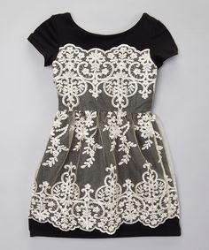 fiveloaves twofish Black Champs-Élysées Dress - Girls by fiveloaves twofish #zulily #zulilyfinds