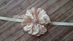 "Valentine's Day Glam Cream Scalloped Satin Flower with Rhinestone Floral Embellishment on 3/8"" Cream Ivory Elastic Headband - pinned by pin4etsy.com"