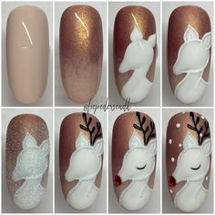 Here is a tutorial for an interesting Christmas nail art Silver glitter on a white background – a very elegant idea to welcome Christmas with style Decoration in a light garland for your Christmas nails Materials and tools needed: base… Continue Reading → Christmas Manicure, Xmas Nails, Christmas Nail Art, Holiday Nails, Reindeer Christmas, Christmas Fashion, Perfect Nails, Gorgeous Nails, Cute Nails