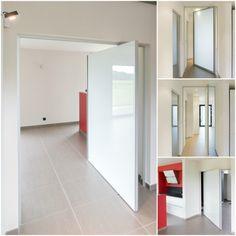 Pivoterende deuren op maat van Anyway Doors. Zowel volle panelen als glazen panelen behoren tot de ruime mogelijkheden. Het innovatieve systeem dient niet ingebouwd te worden in de vloer!!
