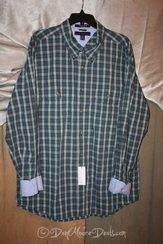 Men's Size XL Tommy Hilfiger Casual Dress Shirt Green Plaid Long Sleeve | eBay