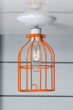 Industrial Lighting - Orange Cage Light - Ceiling Mount | Industrial Light Electric hand crafted lighting, made to order, Industrial Modern Lighting, Vintage Industrial Style Lights with a Modern Design