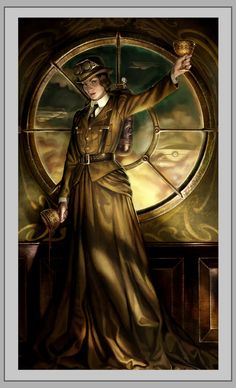 Queen of Cups, Steampunk Tarot  Steampunk Tarot: Where the Past & the Future converge by Barbara Moore and Artist Ally Fell. https://www.steampunkartifacts.com/collections/steampunk-wrist-watches