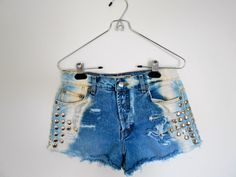 Vintage Bleached, Destroyed and Studded Ombre Jean Shorts but a little longer
