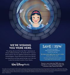 You can save up to 25% on rooms at select Walt Disney World Resort hotels this spring! For stays most nights April 14 - June 11, 2016!