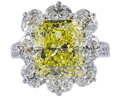 Oscar Heyman platinum fancy yellow diamond ring | JCK On Your Market