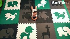 Baby Foam Play Mats | Custom Designed Playroom Floor with SoftTiles Animals Die-Cuts. This play mat uses SoftTiles Safari Animals and a turtle from our Sea Animals collection in black, gray, white, and green.