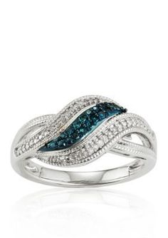 Belk  Co.  White and Blue Diamonds Swirl Ring in Sterling Silver