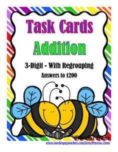 Students will complete the task cards on 3-Digit Addition With Regrouping. The task cards can be used as a review to see if students understand the skill. Students will write their answers on the form included or students can write their answers in their math station journal.