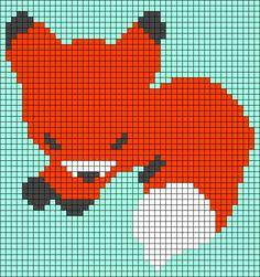 Alpha friendship bracelet pattern added by NobodyElse. fox little chibi asleep animal animals. Graph Crochet, Pixel Crochet, C2c Crochet, Tapestry Crochet, Afghan Crochet Patterns, Crochet Crafts, Crochet Quilt, Crochet Projects, Cross Stitch Patterns