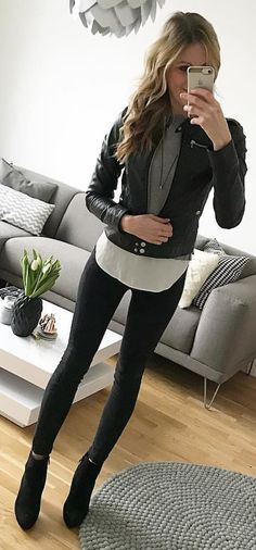 #winter #outfits black leather zip-up jacket