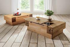 """Du suchst einen Couchtisch in moderner Balken-Optik, der gleichzeitig funktional ist. Dann ist """"Tola"""" genau Dein Möbelstück! Massives Holz bringt Natürlichkeit ins Wohnzimmer. Du hast noch ein paar Kleinigkeiten nach Feierabend zu erledigen, möchtest Dich aber trotzdem gerne aufs Sofa zurückziehen. Kein Problem: Die ausklappbare Tischplatte bietet genug Platz für den Laptop."""