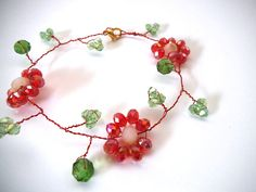 *SOLD* Vine of Flowers Wire Wrapped Bracelet Red by TerriJeansAdornments