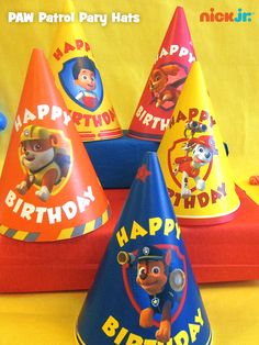 This fan-favorite pin features DIY PAW Patrol party hats, easy to make and fun to wear!
