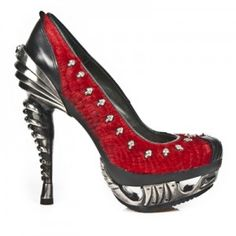 Red Snakeskin High Heeled Ladies New Rock Shoes