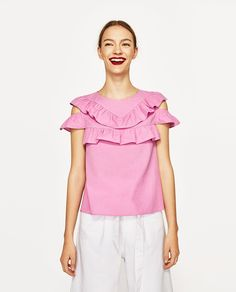 2017 Summer Women Casual Cold Shoulder Ruffles Blouse Shirts O-neck Pink Casual Sexy Tops Chemise Femme Blusas Ladies Casual Tops For Women, Blouses For Women, Frill Tops, Collar Designs, Plus Size Fashion, Clothes, 2017 Summer, Cold Shoulder, United States