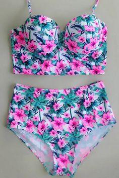 Halter Floral High Waisted Push Up Underwire Bikini Swimwear The Bikini, Bandeau Bikini, Bikini Swimwear, Sexy Bikini, Kids Swimwear, Tankini, Cheap Swimsuits, Workout Attire, Floral Fashion