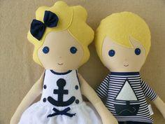 Love these nautical dolls!  Custom Listing for Debbie  Fabric Doll Rag Dolls by rovingovine