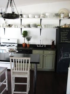 @Laurie Dyer - chalkboard fridge (or freezer). Notice that the black is carried throughout the room and horizontally from the fridge so it blends in well, hence the bookshelves idea.
