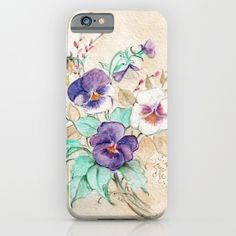 Pansies Bouquet. Watercolor, art, painting, flowers, floral, petals, blossoms, garden, plants, annuals, iPhone, phone cases, tech, See society6 for style choices.