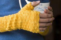 Yellow crochet phoenix wrist warmers