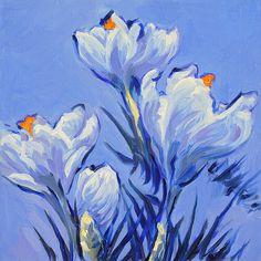 White Spring Crocus. Oil painting by Dusan Balara