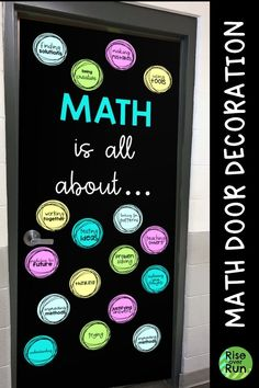 Math is all about… Door Decoration or Bulletin Board Math classroom door decor that is easy to create! Works for a bulletin board to. Help students see what math is all about. Math Bulletin Boards, Classroom Board, Future Classroom, Math Resources, Math Activities, Class Board Decoration, Math Classroom Decorations, Classroom Ideas, Seasonal Classrooms