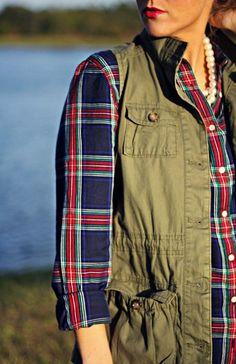 Plaid Shirt and Cargo Vest