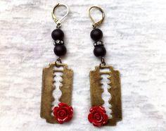 Punk Rock Bronze Razor Blade Red Rose Earrings by Hankat on Etsy, $17.00
