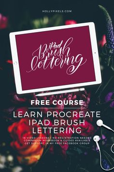 I'm so excited to be announcing my brand new, FREE iPad Brush Lettering course. I will be teaching you the basics to the more advanced levels of flourishing and bounce lettering in this free course. Visit hollypixels.com #lettering #ipadlettering #brushlettering #procreatelettering #handlettering via @hollypixels
