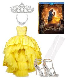 """""""Beauty in Yellow"""" by cww19682 ❤ liked on Polyvore featuring Disney, Carolina Amato, Mikael D, Badgley Mischka, Henri Bendel, BeautyandtheBeast and contestentry"""