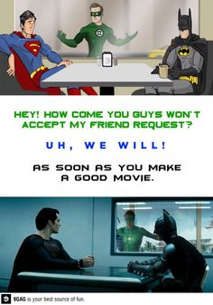 Superman and Batman vs Green Lantern! Superman takes a dig at Green Lantern's movies. Marvel Vs, Marvel Memes, Marvel Dc Comics, I Am Batman, Superman, Funny Images, Funny Pictures, Funny Pics, Green Lantern Movie