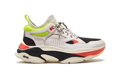 promo code 13077 4cc01 Brandblack Aura II Retro Chunky Sneaker White Black Neon Orange Green  Sneakers Mode, Air Jordans