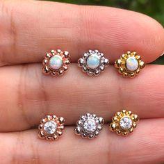 Conch Earring, Tiny Earrings, Opal Earrings, Cartilage Earrings, Unique Ear Piercings, Silver Casting, Tragus Stud, Medusa Piercing, White Opal