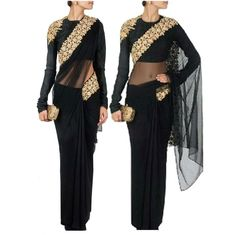 Net Sequins Work Black Designer Saree - 3001