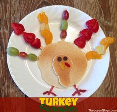 These Turkey Pancakes are a healthy and Easy Thanksgiving breakfast that your kids will love to make and eat.