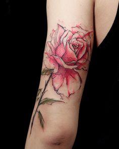 Beautiful rose tattoo by Anzo Choi