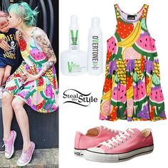 Sherri DuPree-Bemis took a picture with her daughter yesterday wearing the Lazy Oaf Fruit Cocktail Vest Dress (sold out) and pink Converse Chuck Taylor All Star Core Ox Sneakers ($50.00). She colored her hair using the oVertone Vibrant Green Complete System ($45.00) dye and conditioner set.