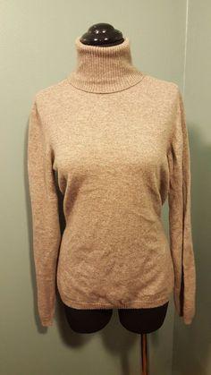 Loro Piana Taupe Gray 100% Cashmere Thin Knit Turtleneck Sweater Size 48 L Italy #LoroPiana #TurtleneckMock #daystarfashions $99