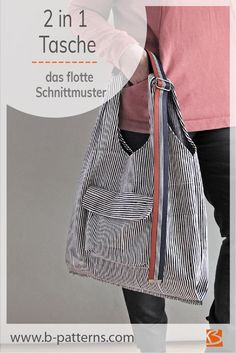 Schnittmuster Tasche einfach Baggy_B - 2 in 1 Tragetasche Beginner Sewing Patterns, Bag Patterns To Sew, Sewing Tutorials, Pattern Sewing, Free Sewing, Sewing Crafts, Sewing Machine Projects, Sewing Projects For Beginners, Sewing Online