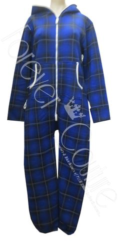 Royal Blue Long Sleeve Tartan Check Print Hooded Onesie With Two Way Zip On The Front And Side Pocket, Cuffed Ankle Product Code: 252 Pack of 5 And 4 Pieces£14.50 per Piece VAT: 0%