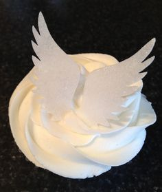 Edible Wafer Paper Cupcake Topper - Angel Wings - Sparkly Lustre Dusted - White, Silver or Gold