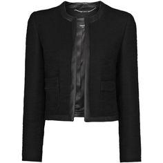 Mango Contrast Trimming Bouclé Jacket, Black (390 RON) ❤ liked on Polyvore featuring outerwear, jackets, blazer, coats, casacos, long sleeve blazer, tailored jacket, short blazer, mango blazer and short blazer jacket