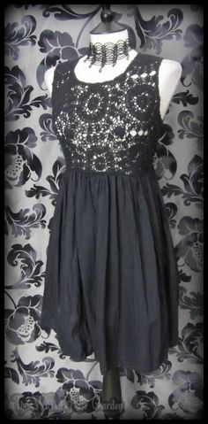 Vintage Goth Little Black Crochet Front Dress 10 12 Romantic Boho Hippie Gothic | THE WILTED ROSE GARDEN on eBay // Worldwide Shipping Available